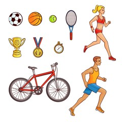 Running people and sport item set - football, basketball, tennis balls, racket, cup, medal, stopwatch and bicycle, hand drawn vector illustration isolated on white background. Big set of sport items
