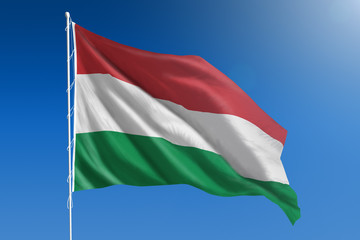 Hungary flag and blue sky