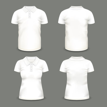 Set of isolated woman and man polo shirts