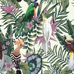 Tropical birds plants leaves flowers abstract color seamless background