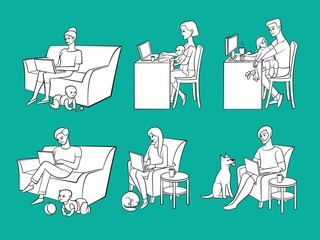 Vector cartoon people working from home, remote, freelance work. Women, men sitting at sofa, table, chair printing at keyboard of laptop, desktop near children, dog, cat. Monochrome illustration