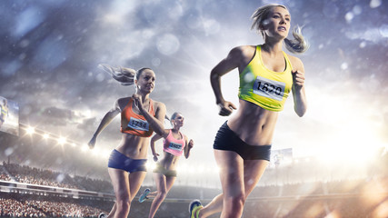 Three professional female runners at grand arena