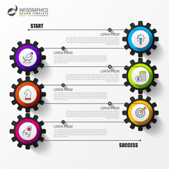 Timeline infographic template with 6 steps. Vector