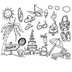 beach, doodle