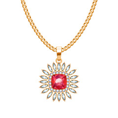Golden chain necklace with ruby gemstone pendant.