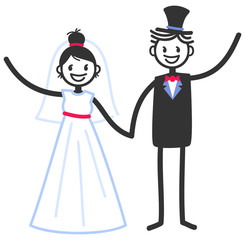 Vector wedding illustration of happy stick figures bridal couple holding hands and waving isolated on white background, wedding invitation template