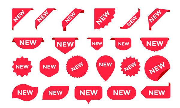 Stickers for New Arrival shop product tags, labels or sale posters and banners vector sticker icons templates