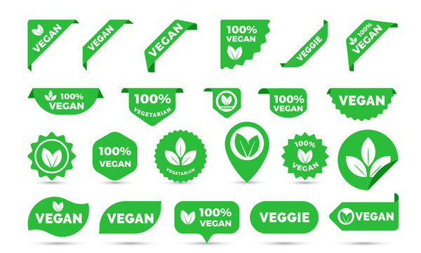 Vegan green stickers set for vegan product shop tags, labels or banners and posters. Vector vegan sticker icons templates set