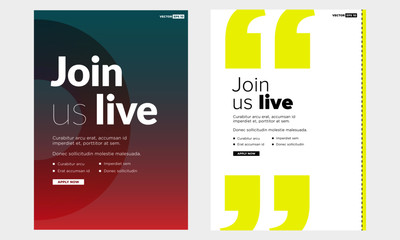 Join Us Live Poster Template with Text Date and Venue Placeholders
