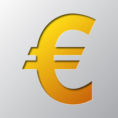 Paper art of the symbol of euro currency. Vector illustration.