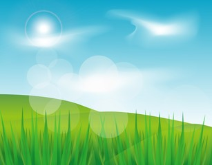 Beautiful Green Landscape with blue sky