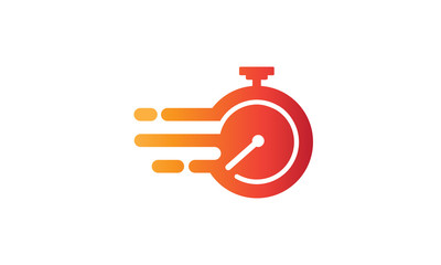 Illustration of the symbol vector of fast service with a flaming clock symbolizes speed and agility in the business concept Wall mural