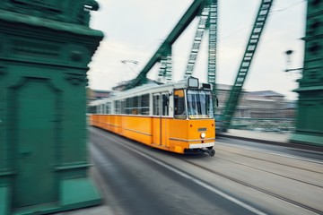 Tram in motion