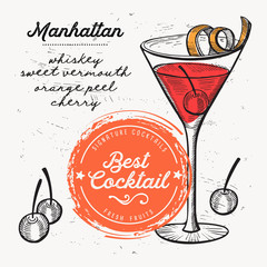 Cocktail manhattan for bar menu. Vector drink flyer for restaurant and cafe. Design poster with vintage hand-drawn illustrations.
