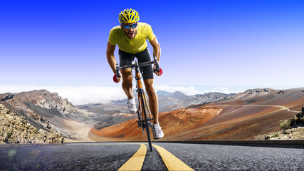 Professional road bicycle racer in action Wall mural