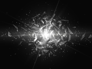 Shards of broken glass. Abstract explosion. Vector illustration