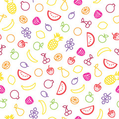 Assorted fruits seamless pattern.