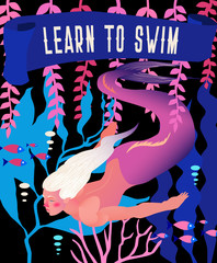 """Mermaid vector illustration. Underwater marine fairytale landscape with mythology fantasy character. Bright vintage retro poster in violet colors and slogan """"Learn to swim""""."""