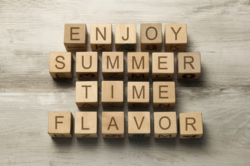 enjoy summer time flavor text on wooden toy cubes