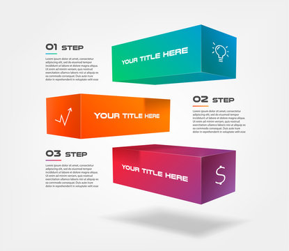 3d blocks infographics step by step with icons. Element of chart, graph, diagram with 3 options - parts, processes, timeline. Vector business template for presentation, workflow layout, web design