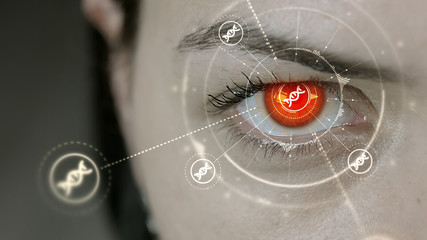 Young cyborg female blinks then DNA symbols appears.