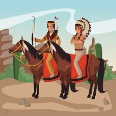 American indian warriors on horses at village cartoon vector illustration graphic design
