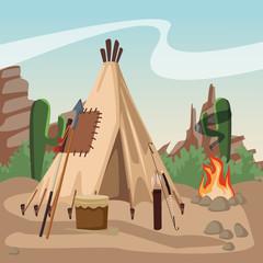 Amerinca indian village with tent vector illustration graphic design
