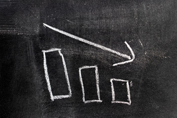 White chalk hand drawing in bar chart with downtrend arrow shape on blackboard background