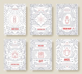 Merry Christmas thin line vector brochure cards set. birth of Christ template of flyear, magazines, posters, book cover, banners. Layout elements outline illustrations modern pages