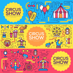 Premium quality circus outline icons infographic set. Festival linear symbol pack. Modern show template of thin line, logo, symbols, pictogram and flat illustrations vector concept banners