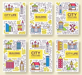 Thin line city skylines brochure cards set.  Uburban different buildings template of flyear, magazines, poster, book cover, banners. Outline invitation concept