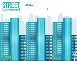 skyscraper building in city space with road on flat style background concept. Vector illustration design