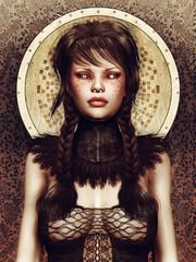 Dziewczyna w gotyckim gorsecie i kołnierzu z oczami jak zegary