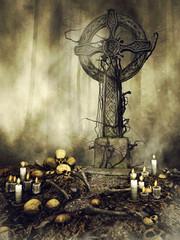 Gotycki nagrobek otoczony czaszkami i świecami w lesie