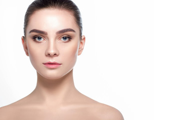 Wall Mural - Beautiful woman face with fresh makeup, beauty healthy skin and wide eyebrows.