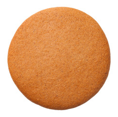 Poster Koekjes Gingerbread Round Cookie Isolated on White Background.