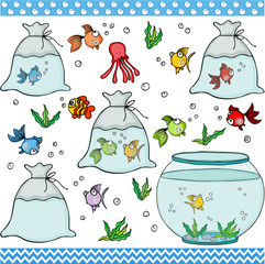Fish set digital elements