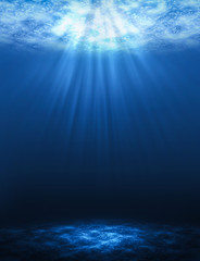 Sunbeam vertical Abstract underwater backgrounds in the sea.