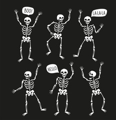 Funny skeletons in different poses with speech bubbles. Vector elements for halloween design.