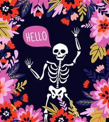 Skeleton in the floral frame with speech bubble - 'hello'. Vector holiday illustration for Day of the dead or Halloween. Funny card design.