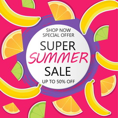 Super Summer Sale Banner in paper cut style. Circle frame for text.
