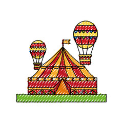 circus tent with balloons air hot flying vector illustration design