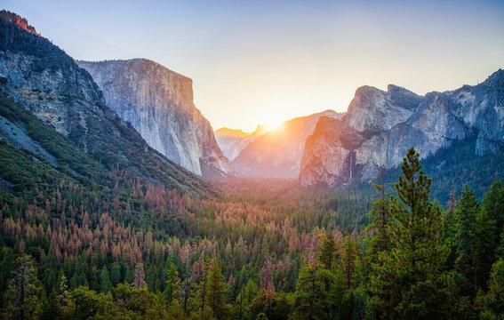 Yosemite National Park at sunrise, California, USA
