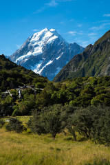 Mount cook with eternal snow at south island in New Zealand