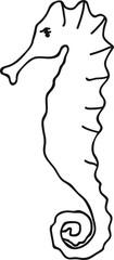 Hand Drawn Doodle Sketch Line Art Vector Illustration of Adorable Sea Horse. Emblem Poster Banner Black Outline Design Element Template