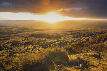 Powerful Sunset Light over British Countryside