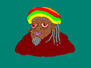 Comix style smoky rastafari on blue background. Isolated.