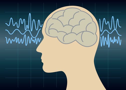 Brain waves, thinking, concentration vector illustration.
