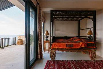 Modern bed room interior in Luxury villa. Vintage stile
