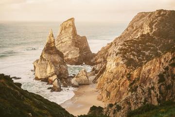Landscape of the rocks, cliffs and ocean beach coastline Lisbon Portugal, Europe. Panoramic nature beauty seascape